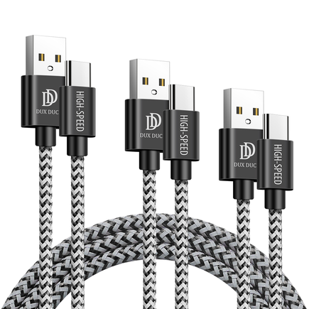 Dux Ducis K-ONE Series sada 3x nylonový kabel USB - USB Typ C (0,25 m, 1 m, 2 m) 2 A černý