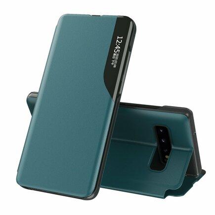 Eco Leather View Case elegantní pouzdro s klapkou a funkcí podstavce Samsung Galaxy S10+ (S10 Plus) zelené