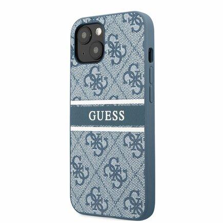 Guess PU 4G Printed Stripe Zadní Kryt pro iPhone 13 Mini modrý