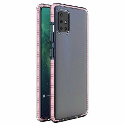 Spring Case gelové pouzdro s barevným rámem Samsung Galaxy A21S světle růžové