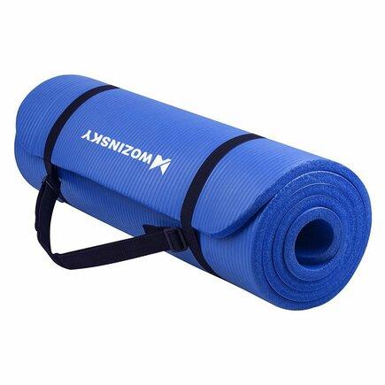 Wozinsky Podložka na cvičení 181 cm x 63 cm x 1 cm joga pilates modrá (WNSP-BLUE)