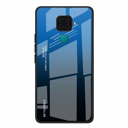 Gradient Glass pouzdro s vrstvou z tvrzeného skla Huawei Mate 30 Lite / Huawei Nova 5i Pro černo-modré