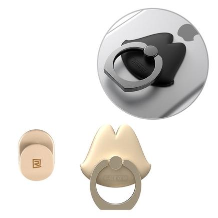 Lips Ring úchyt na telefon ve tvaru úst zlatý