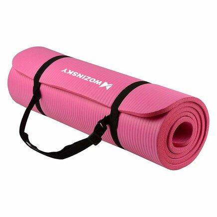 Wozinsky Podložka na cvičení 181 cm x 63 cm x 1 cm joga pilates růžová (WNSP-PINK)