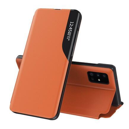 Eco Leather View Case elegantní pouzdro s klapkou a funkcí podstavce Huawei P40 oranžové