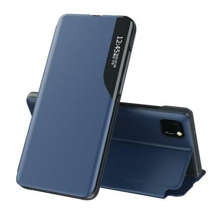 Eco Leather View Case elegantní pouzdro s klapkou a funkcí podstavce Huawei Y6p modré