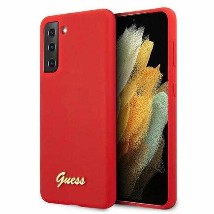 Guess Silicone Metal Logo Script Pouzdro pro Samsung Galaxy S21 červené