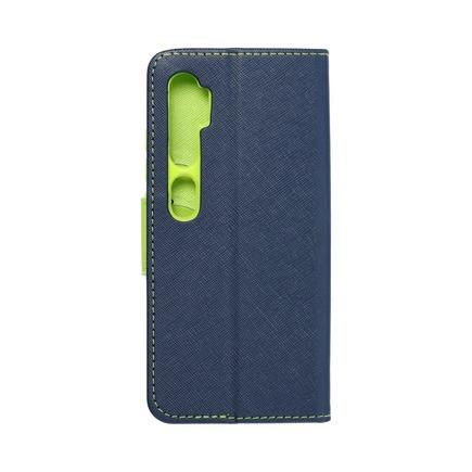 Pouzdro Fancy Book Xiaomi Redmi Note 10 tmavě modré/limetkové