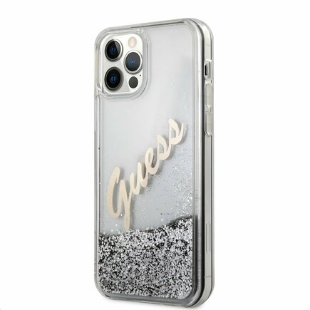 Guess Liquid Glitter Vintage Pouzdro pro iPhone 12 / 12 Pro stříbrné
