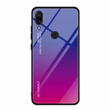 Gradient Glass pouzdro s vrstvou z tvrzeného skla Xiaomi Redmi Note 7 růžově-fialové