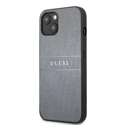 Guess PU Leather Saffiano Zadní Kryt pro iPhone 13 šedý