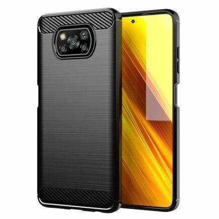 Carbon Case elastické pouzdro Poco X3 NFC černé