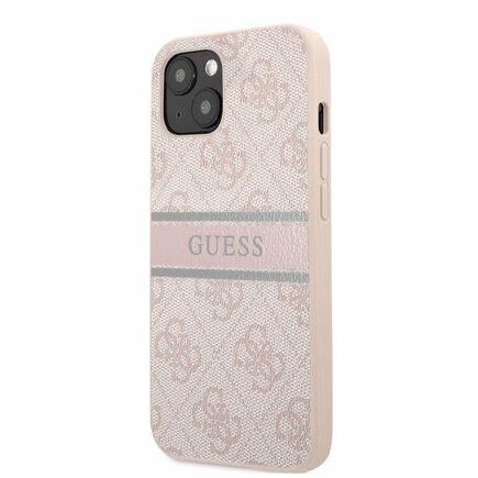 Guess PU 4G Printed Stripe Zadní Kryt pro iPhone 13 Mini růžový