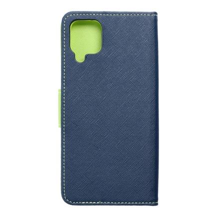 Pouzdro Fancy Book Samsung A12 tmavě modré/limetkové