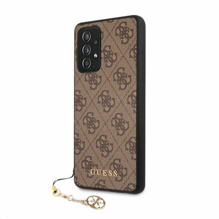 GUHCA72GF4GBR Guess PU 4G Charm Zadní Kryt pro Samsung Galaxy A72 hnědý