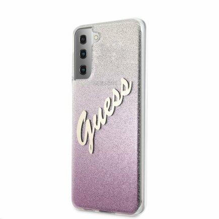 Guess PC/TPU Vintage Pouzdro pro Samsung Galaxy S21 Gradient růžové