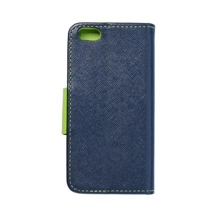 Pouzdro Fancy Book iPhone 5 / 5S / SE tmavě modré/limetkové