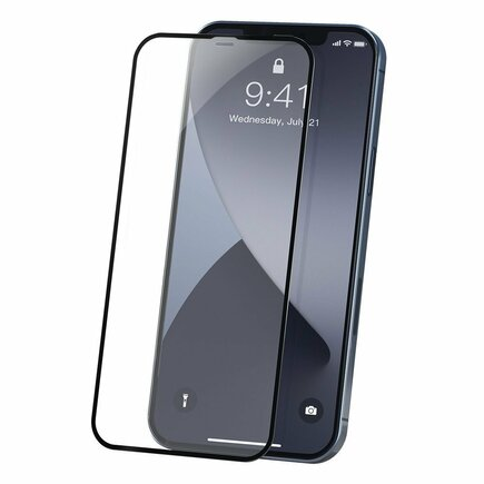 2x tvrzené sklo 0;23 mm na celý displej s rámem iPhone 12 Pro Max černé (SGAPIPH67N-PE01)