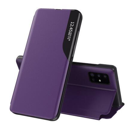 Eco Leather View Case elegantní pouzdro s klapkou a funkcí podstavce Huawei P40 fialové