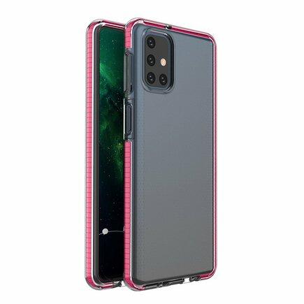 Spring Case gelové pouzdro s barevným rámem Samsung Galaxy M31s tmavě růžové