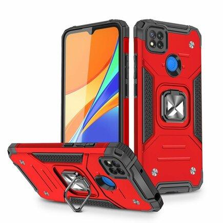 Wozinsky Ring Armor pancéřové hybridní pouzdro + magnetický úchyt Xiaomi Redmi 9C červené