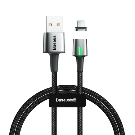 Zinc magnetický kabel USB / USB Typ C 1m 3A černý