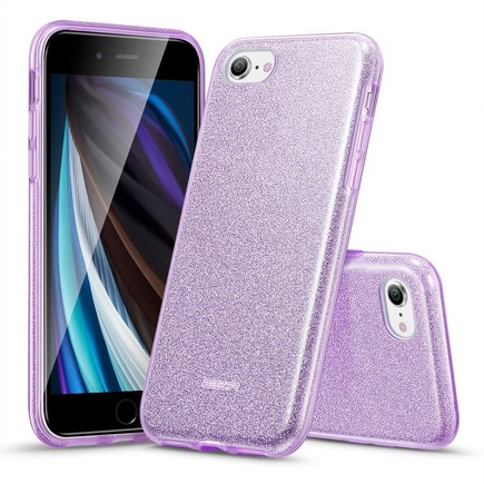 Pouzdro Makeup Glitter iPhone 7 / 8 / SE 2020 fialové