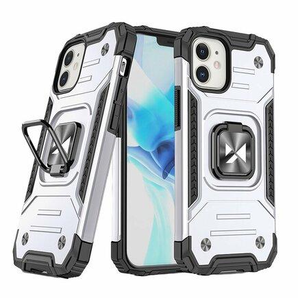 Wozinsky Ring Armor pancéřové hybridní pouzdro + magnetický úchyt iPhone 12 mini stříbrné