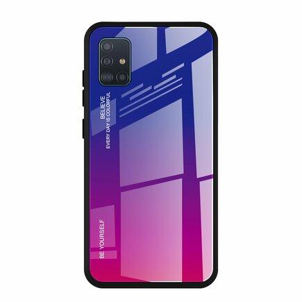 Gradient Glass pouzdro z tvrzeného skla Samsung Galaxy A51 růžově/fialové