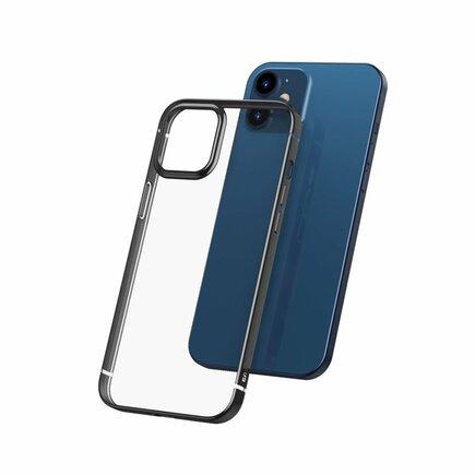 Shining Case elastické gelové pouzdro s metalickým lesklým rámem iPhone 12 mini černé (ARAPIPH54N-MD01)