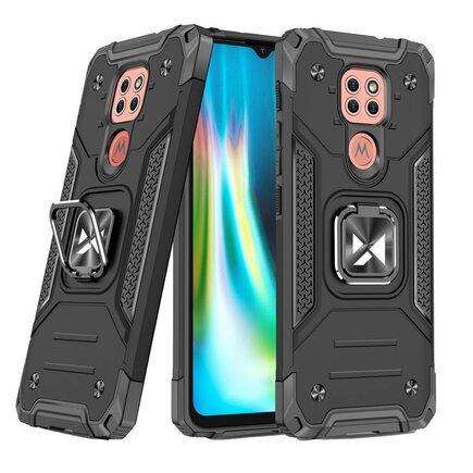 Wozinsky Ring Armor pancéřové hybridní pouzdro + magnetický úchyt Motorola Moto G9 Play černé