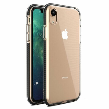Spring Case gelové pouzdro s barevným rámem iPhone XR černé