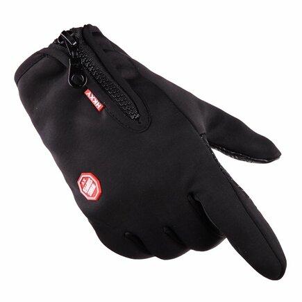 Univerzální sportovní voděodolné rukavice na zimu pro dotykové displeje černé