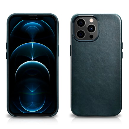 "iCarer iPhone 13 Pro Max Oil Wax Premium Leather Magsafe Back Case(6,7"") modrý"