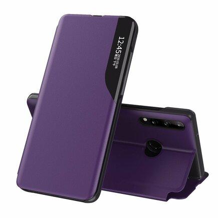 Eco Leather View Case elegantní pouzdro s klapkou a funkcí podstavce Huawei P40 Lite E fialové