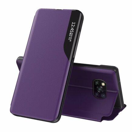 Eco Leather View Case elegantní pouzdro s klapkou a funkcí podstavce Xiaomi Poco X3 NFC fialové