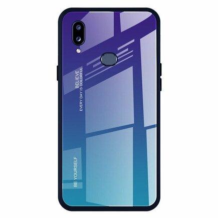 Gradient Glass pouzdro s vrstvou z tvrzeného skla Samsung Galaxy A20e zeleno-fialové