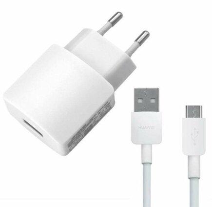 Cestovní nabíječka USB + microUSB Dat. Kabel bílý (Bulk)