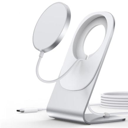 Choetech magnetická bezdrátová nabíječka Qi 15W (kompatibilní s MagSafe) bílá (T517-F) + stojan/úchyt stříbrný