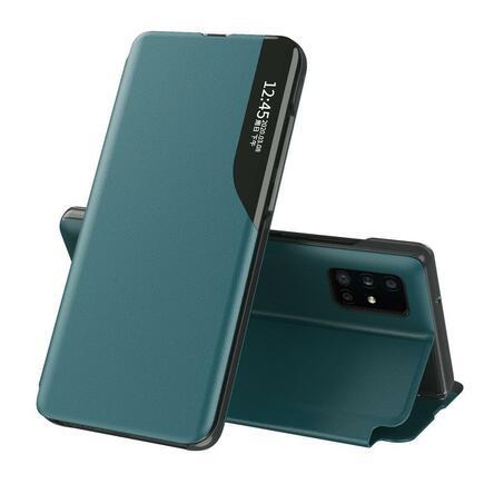 Eco Leather View Case elegantní pouzdro s klapkou a funkcí podstavce Huawei P40 Pro zelené