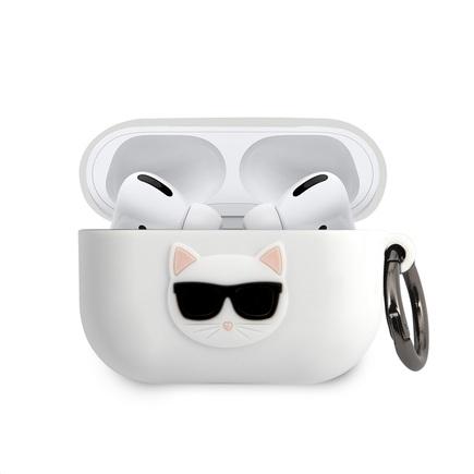 Karl Lagerfeld Choupette Head Silikonové Pouzdro pro Airpods Pro bílé