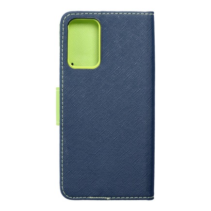 Pouzdro Fancy Book Samsung A72 5G tmavě modré/limetkové