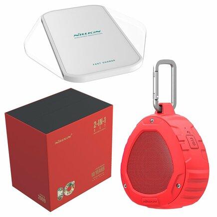Dárková sada - bezdrátový reproduktor Bluetooth + bezdrátová nabíječka Qi Magic Cube (Fast Charge Edition) červená