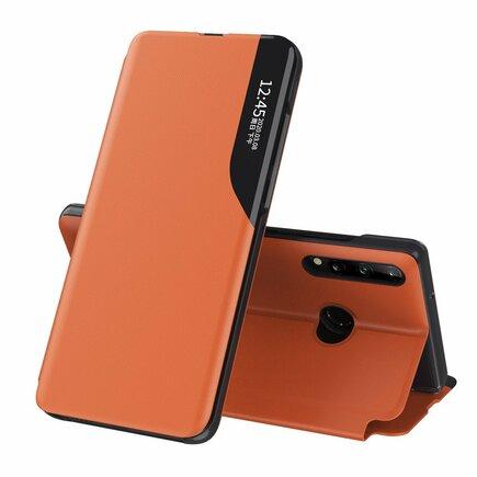 Eco Leather View Case elegantní pouzdro s klapkou a funkcí podstavce Huawei P40 Lite E oranžové