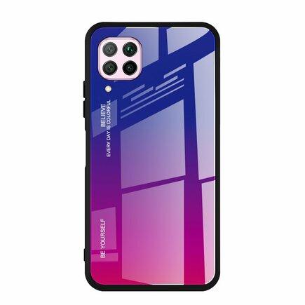 Gradient Glass pouzdro z tvrzeného skla Huawei P40 Lite / Nova 7i / Nova 6 SE růžově/fialové