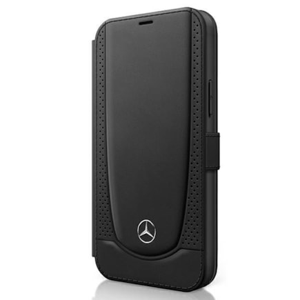Mercedes Perforated Leather Book Pouzdro pro iPhone 12 Pro Max 6.7 černé