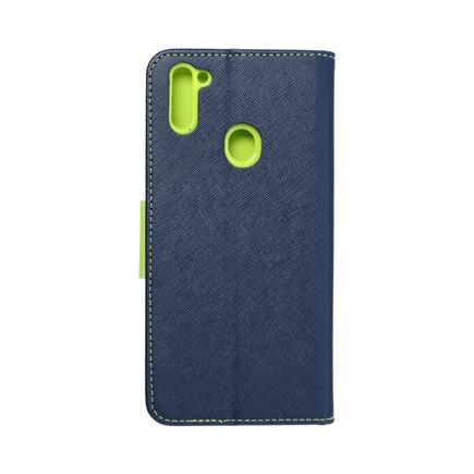 Pouzdro Fancy Book Samsung M11 tmavě modré/limetkové