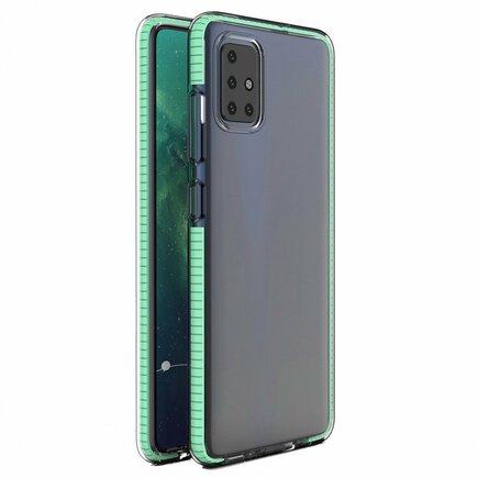 Spring Case gelové pouzdro s barevným rámem Xiaomi Redmi 10X 4G / Xiaomi Redmi Note 9 mátvě zelené