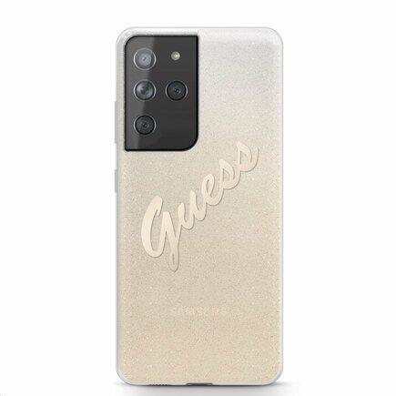 Guess PC/TPU Vintage Pouzdro pro Samsung Galaxy S21 Ultra Gradient zlaté