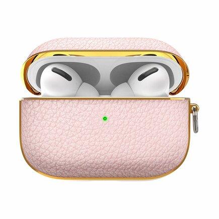 Kingxbar Leather pouzdro pro sluchátka AirPods Pro růžové